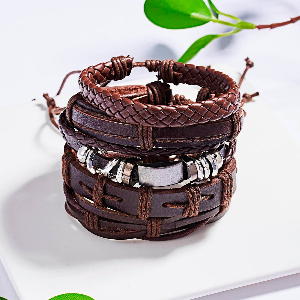 Vintage Multilayer Leather Braided Men Bracelet