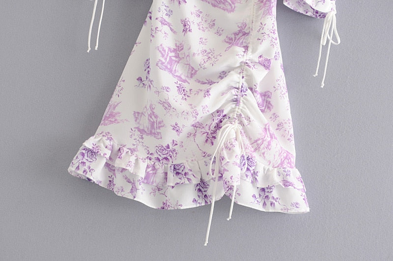 Backless Strapless Purple Floral Cuff Mini Dress