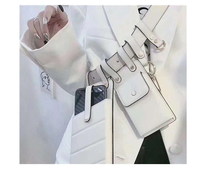 Luxury Leather Women's White Waist Belt Bag