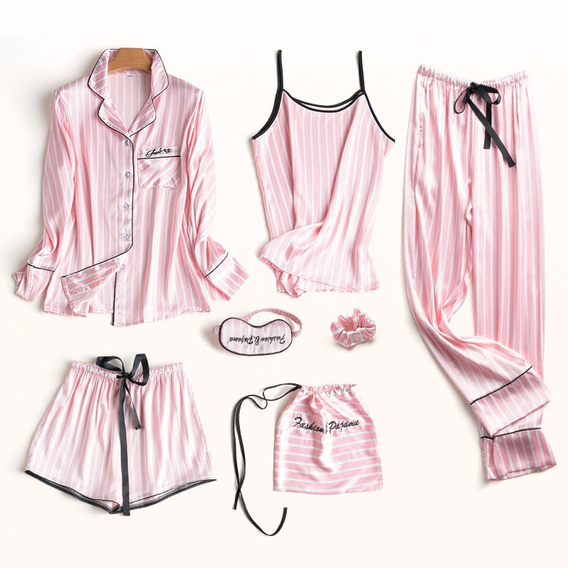 Sexy Striped & Flower Silk Pajamas Set For Women