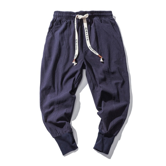 Japanese Style Ankle Banded Cotton Flaxen Men's Trousers