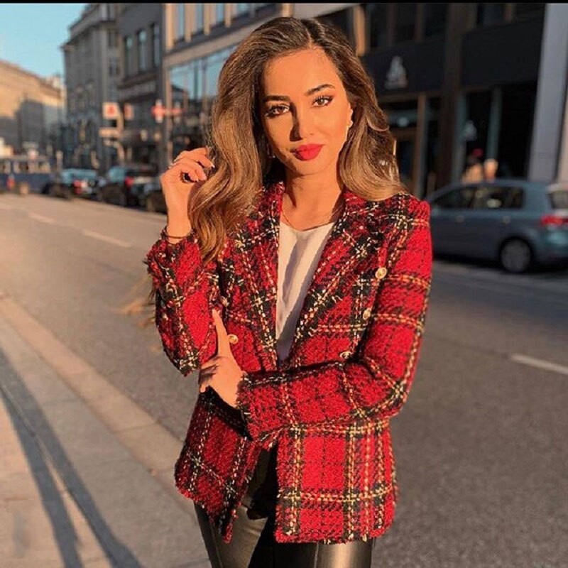 Vintage Double Breasted Plaid Ladies Tweed Jacket