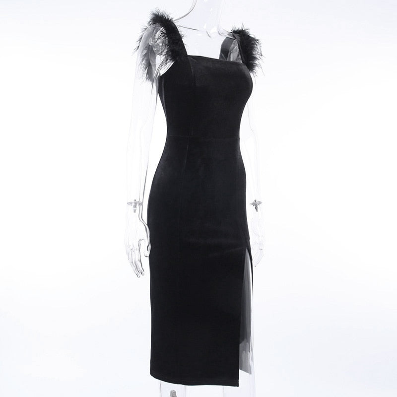 Backless Ostrich Feather Split Hem Velvet Party Dress