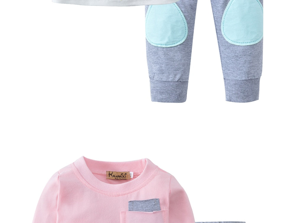 Unisex Long Sleeve Cotton 2 Pcs Clothing Baby Outfits