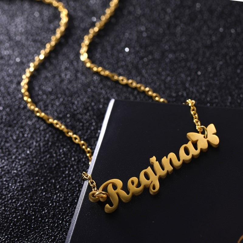 Personalized Custom Name & Butterfly Stainless Steel Gold Necklace