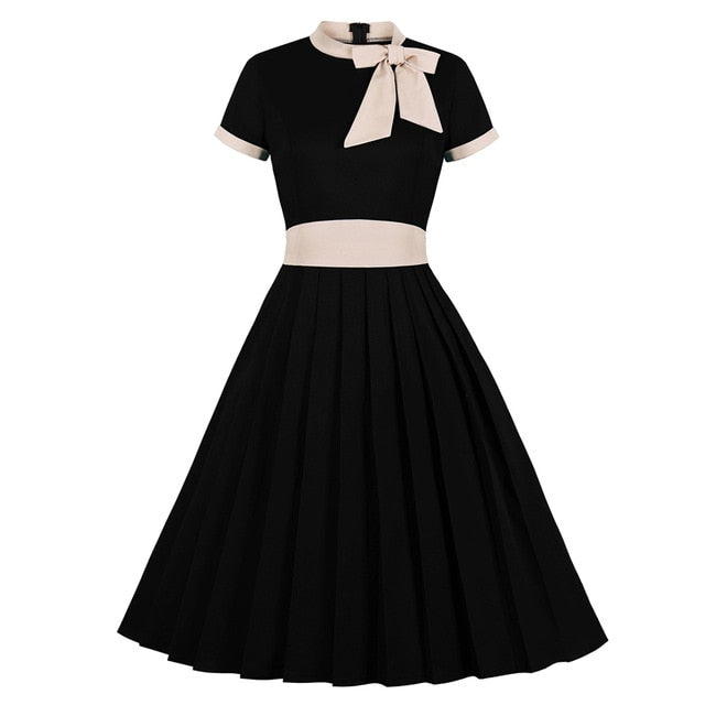 Vintage High Waist Bow Tie Neck Pleated Swing Midi Black Dress