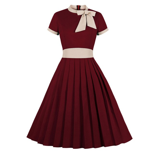Vintage High Waist Bow Tie Neck Pleated Swing Midi Red Dress