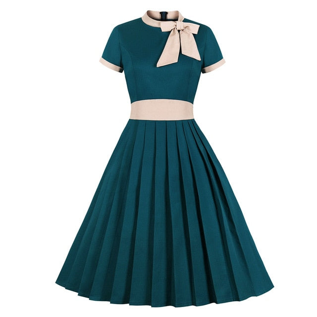 Vintage High Waist Bow Tie Neck Pleated Swing Midi Turquoise Dress