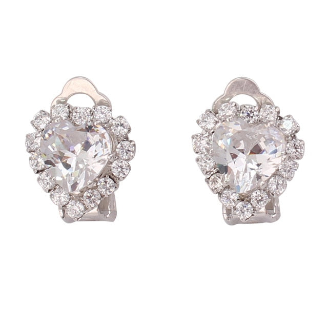Cubic Zircon Tear Drop Geometric Clip-on Earrings For Women