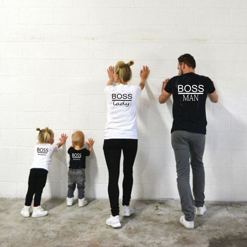 Short Sleeve BOSS Printed Cotton Family Matching T-Shirt