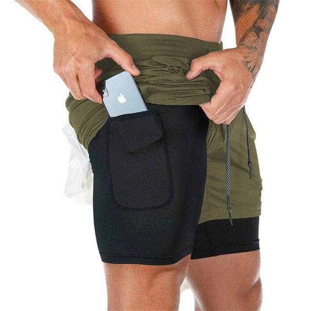 Quick-Dry 2 in 1 Camouflage Pocket Men's Sport Shorts