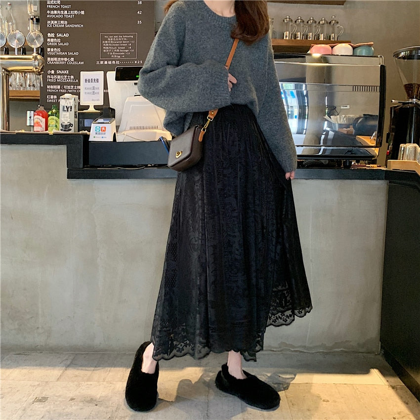 Korean Style A-Line High Waist Women's Maxi Lace Skirts