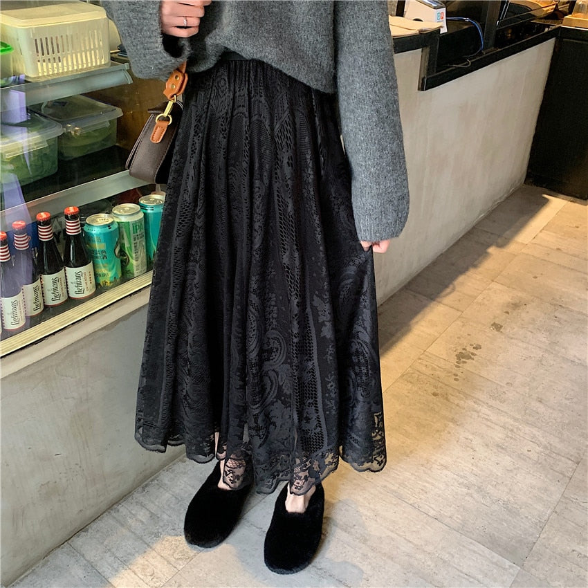 Korean Style A-Line High Waist Women's Maxi Lace Black Skirts
