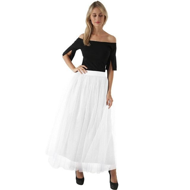 High Waist Pleated 4 Layers Tulle Floor Length White Skirts For Women
