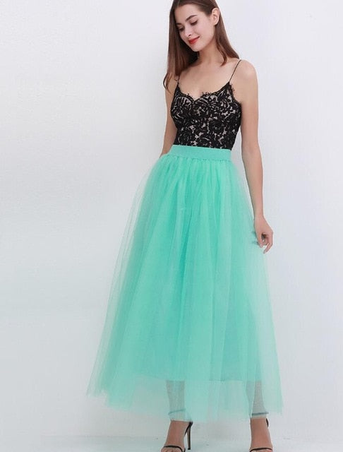 High Waist Pleated 4 Layers Tulle Floor Length Skirts For Women