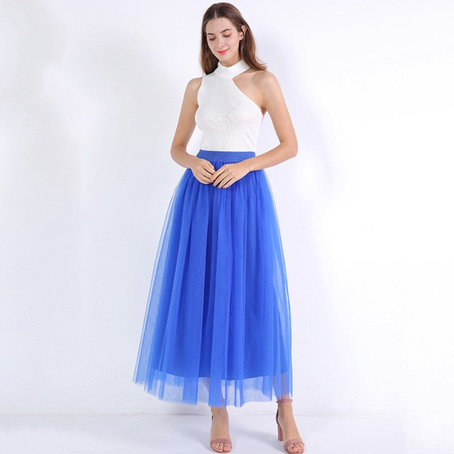 High Waist Pleated 4 Layers Tulle Floor Length Blue Skirts For Women
