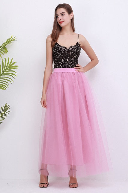 High Waist Pleated 4 Layers Tulle Floor Length Pink Skirts For Women