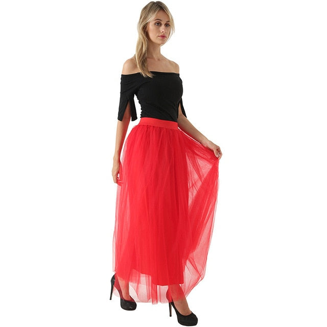 High Waist Pleated 4 Layers Tulle Floor Length Red Skirts For Women