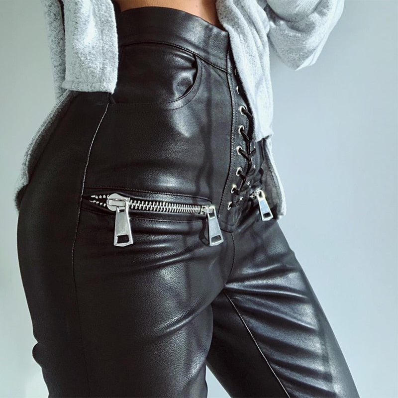 High Waist Lace Up Skinny Black Faux PU Leather Women's Pencil Pant