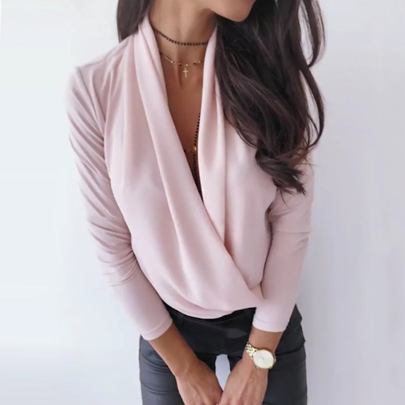 Deep V-Neck Long Sleeve Solid Women's Pink T-shirt