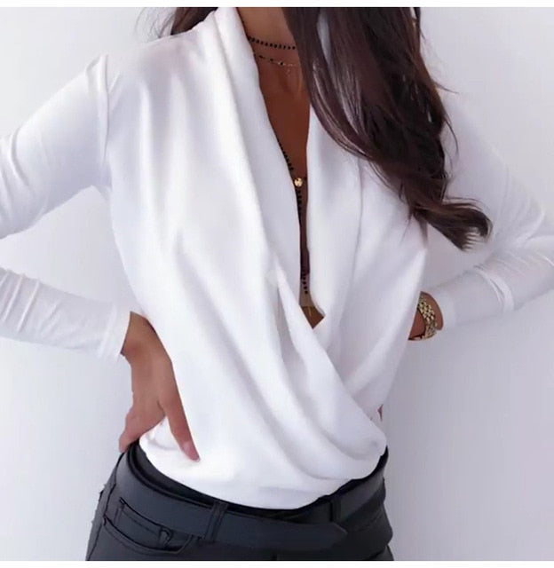 Deep V-Neck Long Sleeve Solid Women's White T-shirt