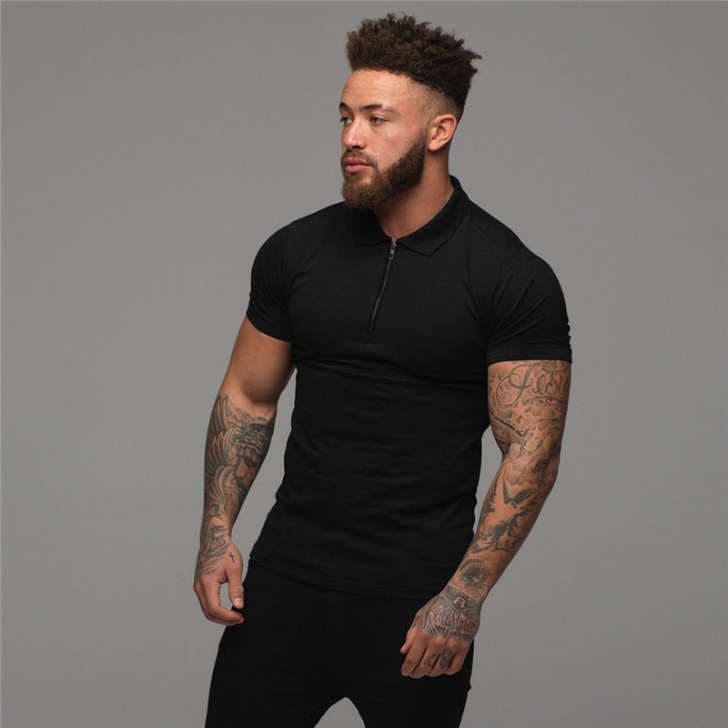 Short Sleeve Plain Color Slim Fit Men's Black Polo Shirt