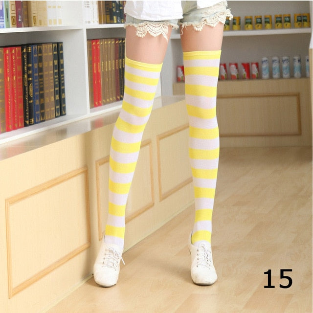Cute Cotton Striped Thigh High Socks For Girls