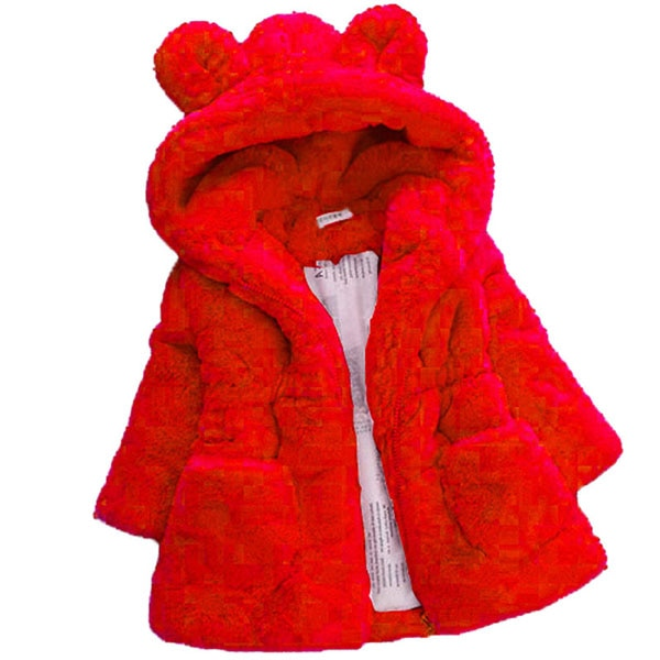 Warm Hooded Fleece Faux Fur Red Girls Jacket