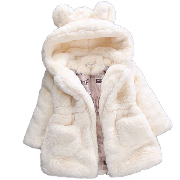 Warm Hooded Fleece Faux Fur White Girls Jacket
