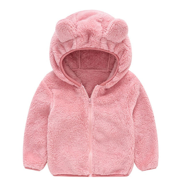 Warm Hooded Fleece Faux Fur Girls Jacket