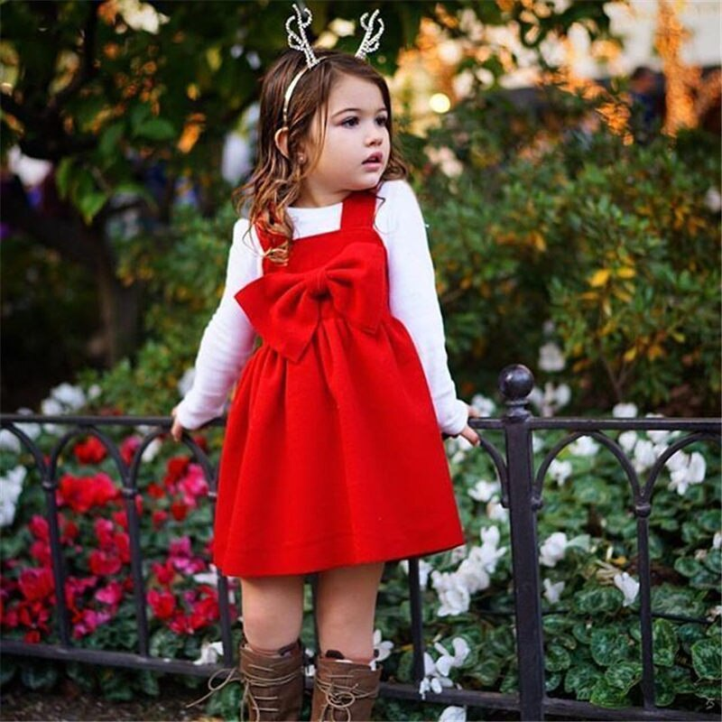 Sleeveless Bow Knot Tutu Red Dress For Girls