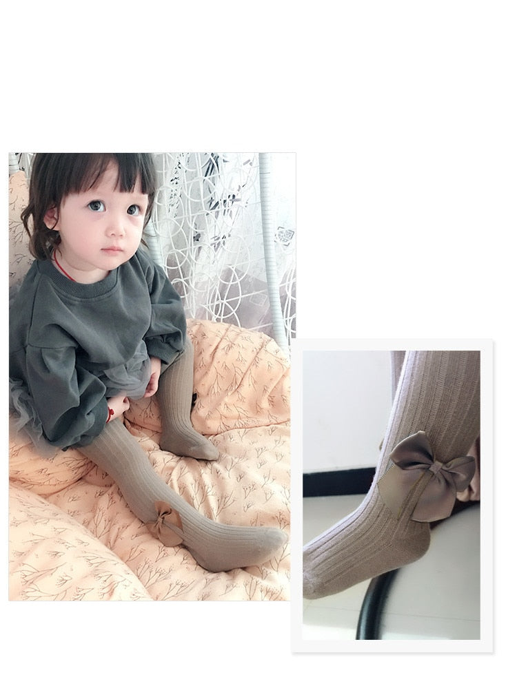 0-10Yrs Solid Knitted Bowknot Girls Tights