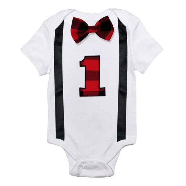 Unisex Cotton Bow Tie 1st Birthday Baby Rompers
