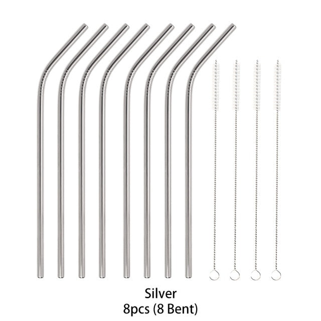 14Pcs Reusable Stainless Steel Straws