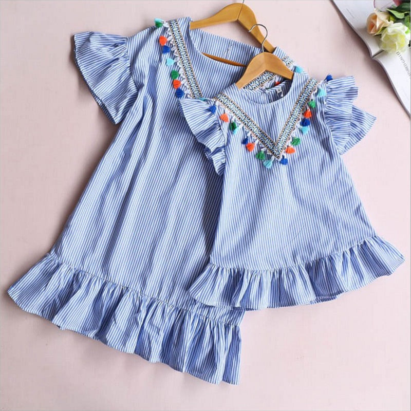 Pleated Striped Tassel Mini Mother & Daughter Matching Dress