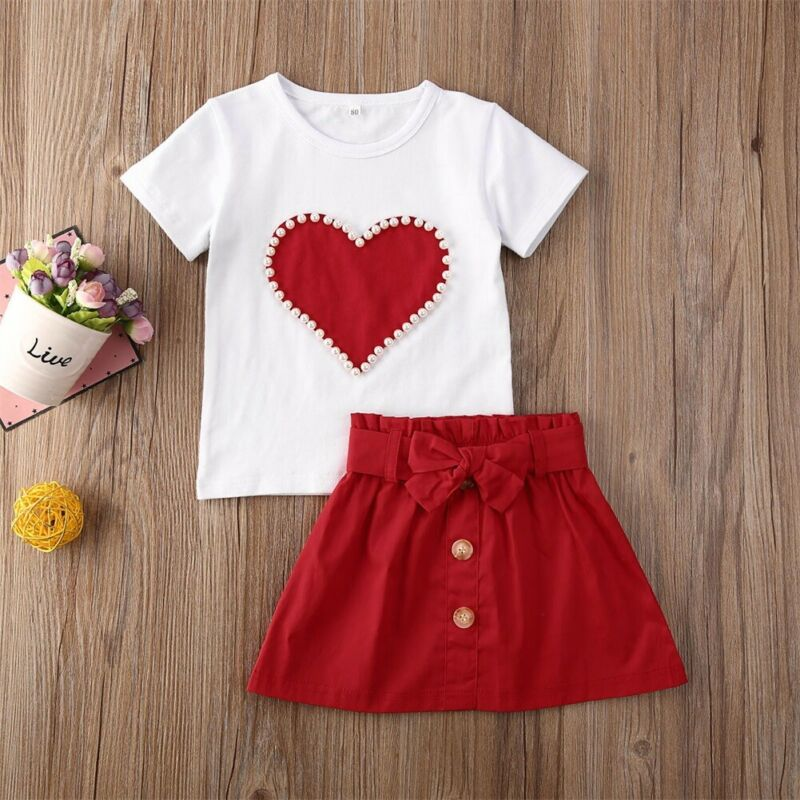 Short Sleeve Heart Printed Baby Girl T-shirt & Button Bowknot Red Skirt
