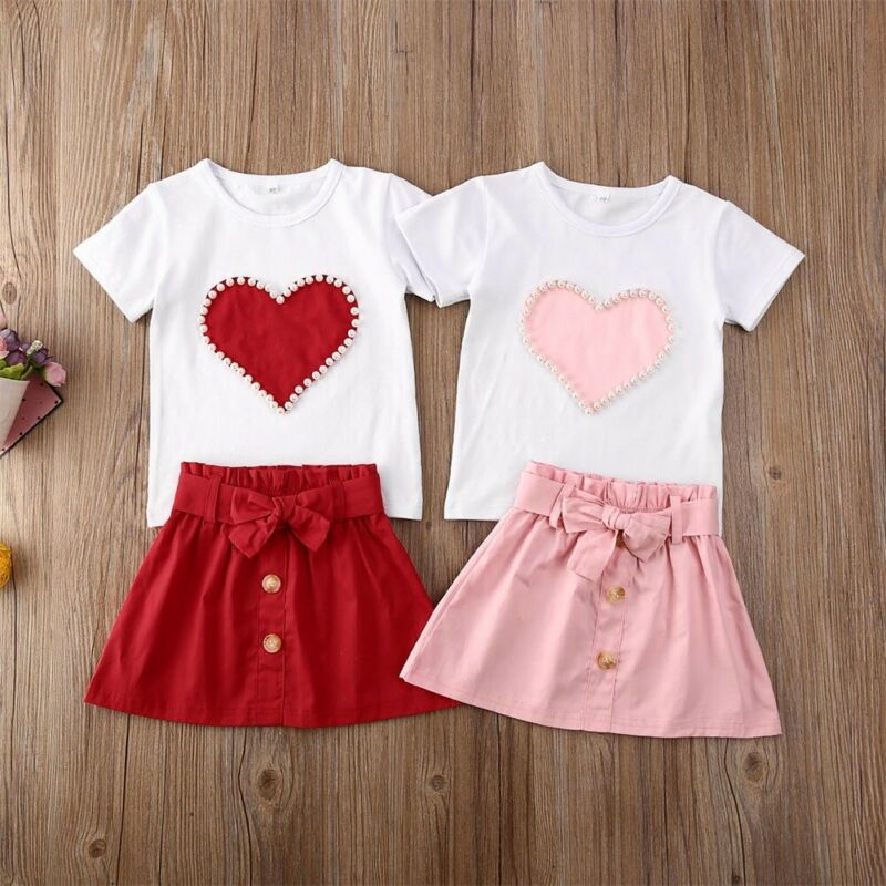 Short Sleeve Heart Printed Baby Girl T-shirt & Button Bowknot Skirt