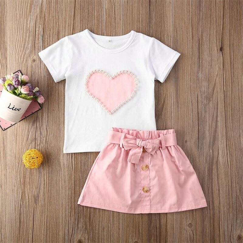 Short Sleeve Heart Printed Pink Baby Girl T-shirt & Button Bowknot Skirt