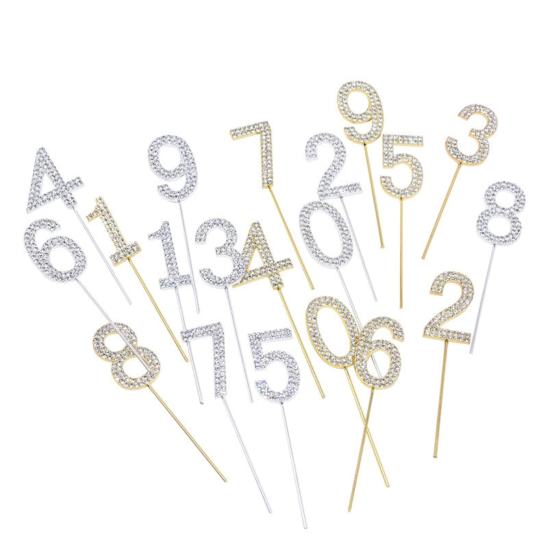 Glitter Alloy Rhinestone Number Cake Toppers