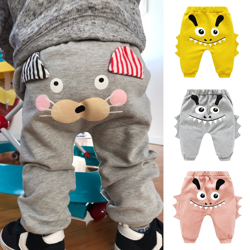 Unisex High Waist Cartoon Animal Print Baby Pant