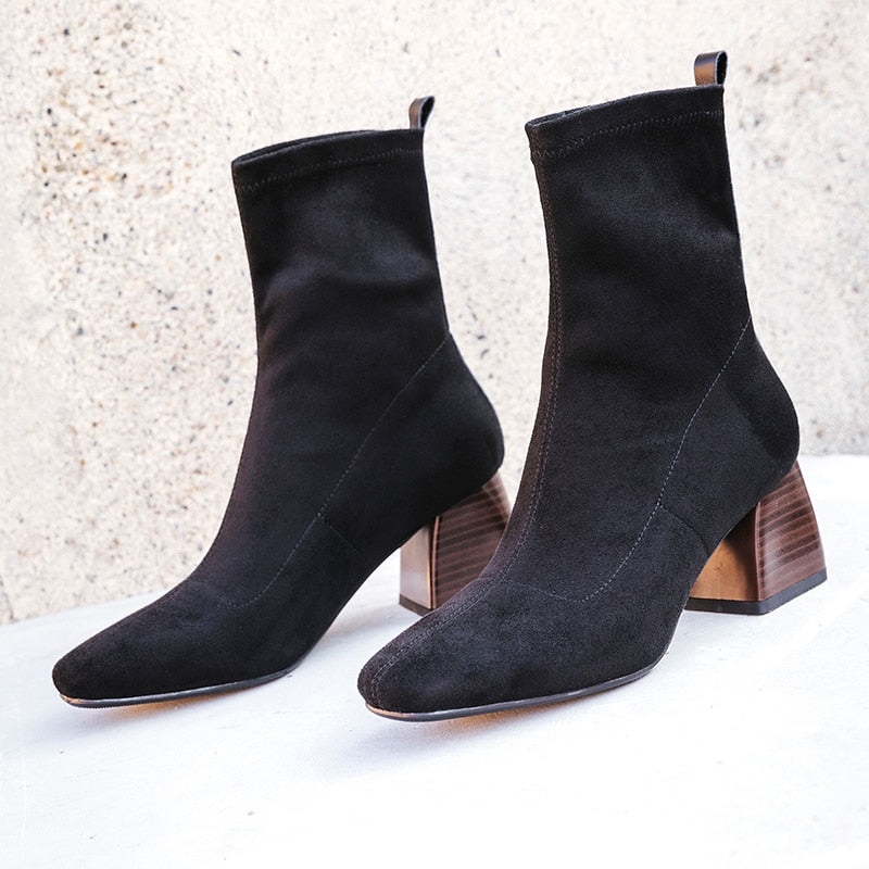 All Match British Style Flock Velvet Stretch Women's Boots