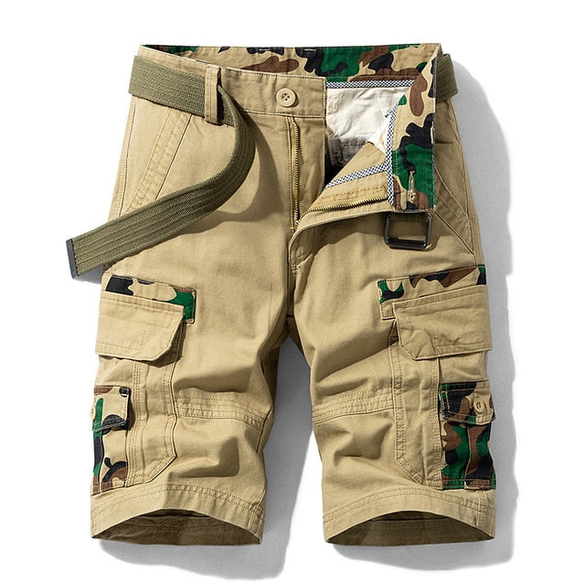 Vintage Cotton Breathable Pockets Cargo Khaki Shorts For Men
