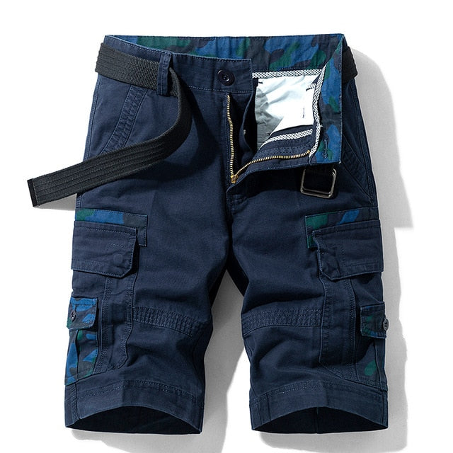 Vintage Cotton Breathable Pockets Cargo Blue Shorts For Men
