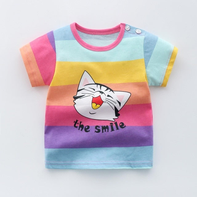 Unisex Cartoon Printed Flower Rainbow Cotton Summer T-Shirt