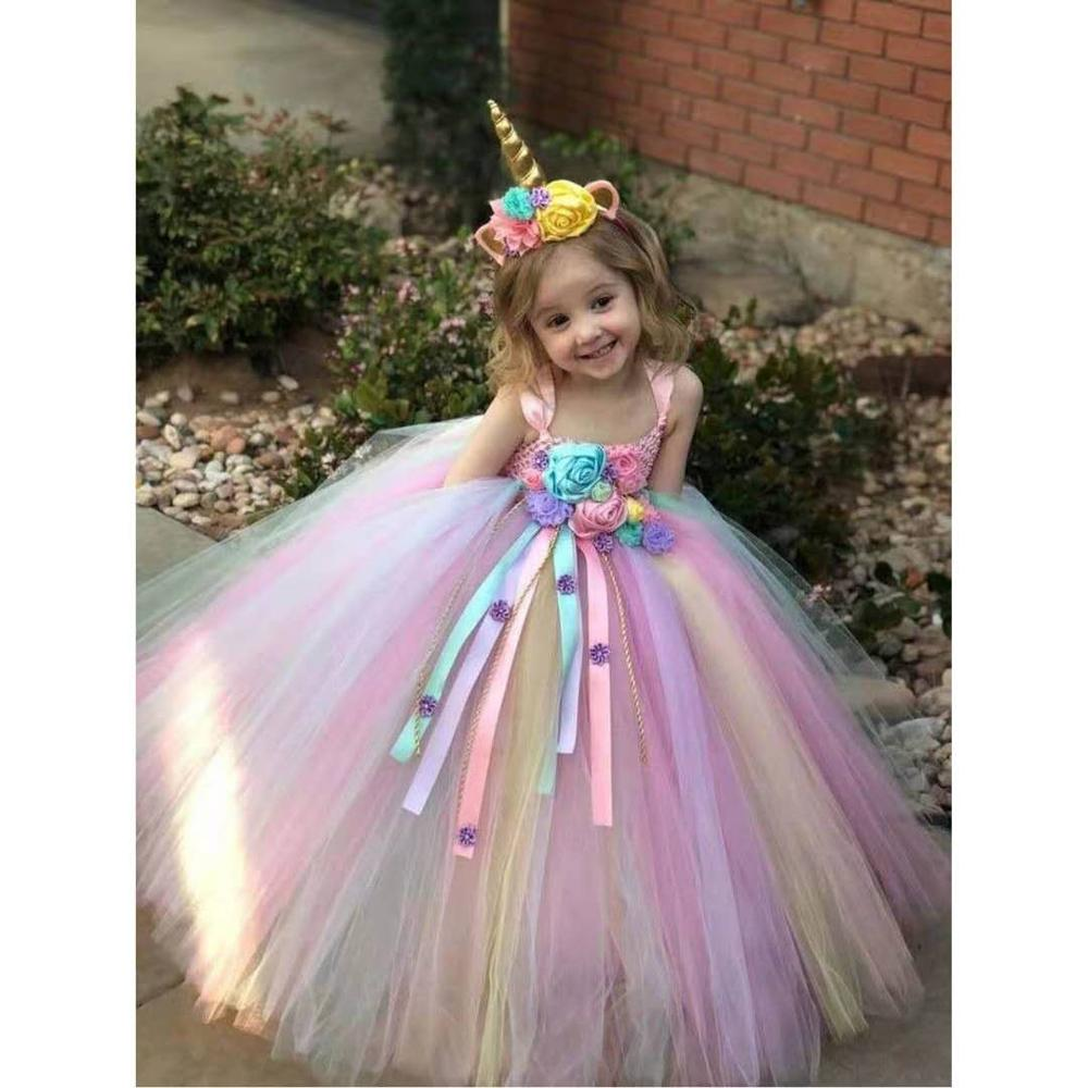 Lovely Unicorn & Flower Voile Girls Long Dress