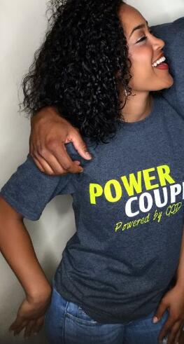 "Short-Sleeve Funny ""Power Couple"" Matching T-Shirt"