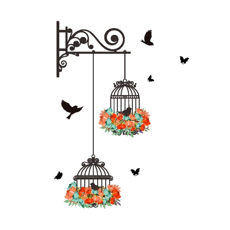 Creative Colorful Flower Birdcage Flying Birds Wall Sticker