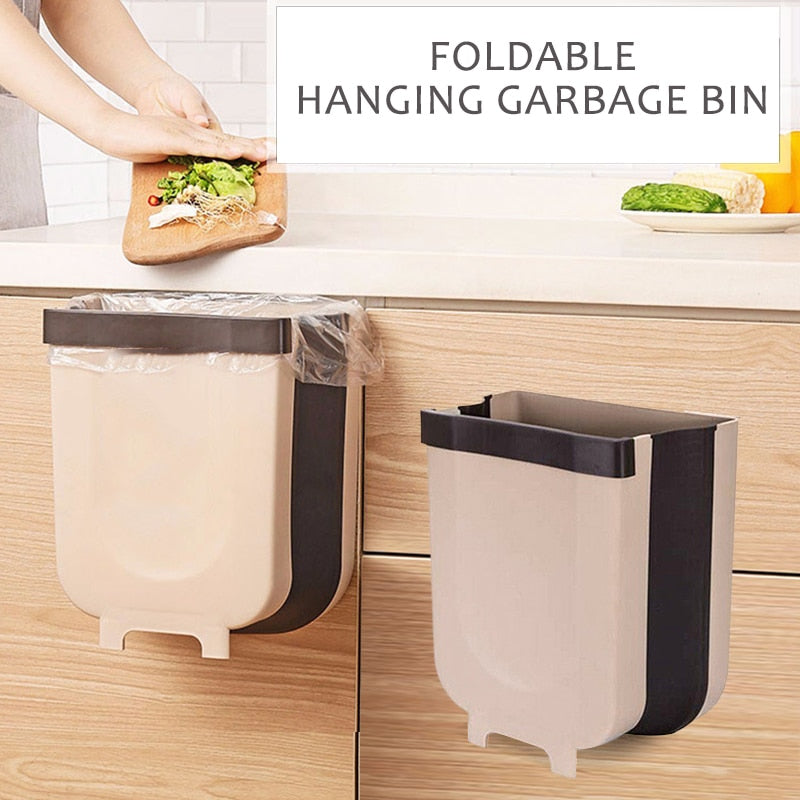 Wall Mounted & Kitchen Cabinet Door Hanging Folding Trash Bin