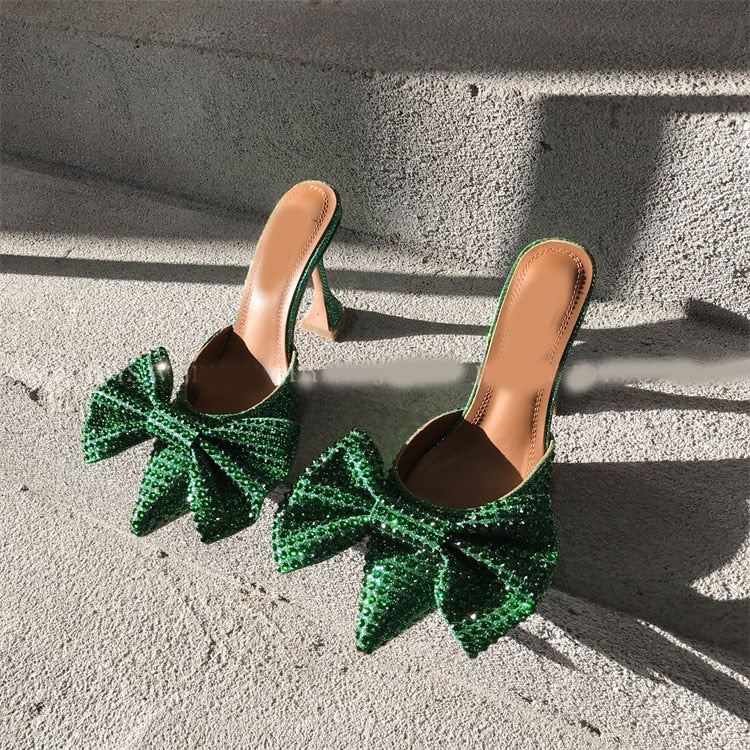 Super Flash Bow Rhinestone High Heel Summer Green Women's Slippers