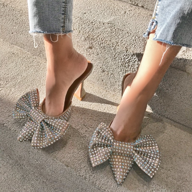 Super Flash Bow Rhinestone High Heel Summer Women's Slippers